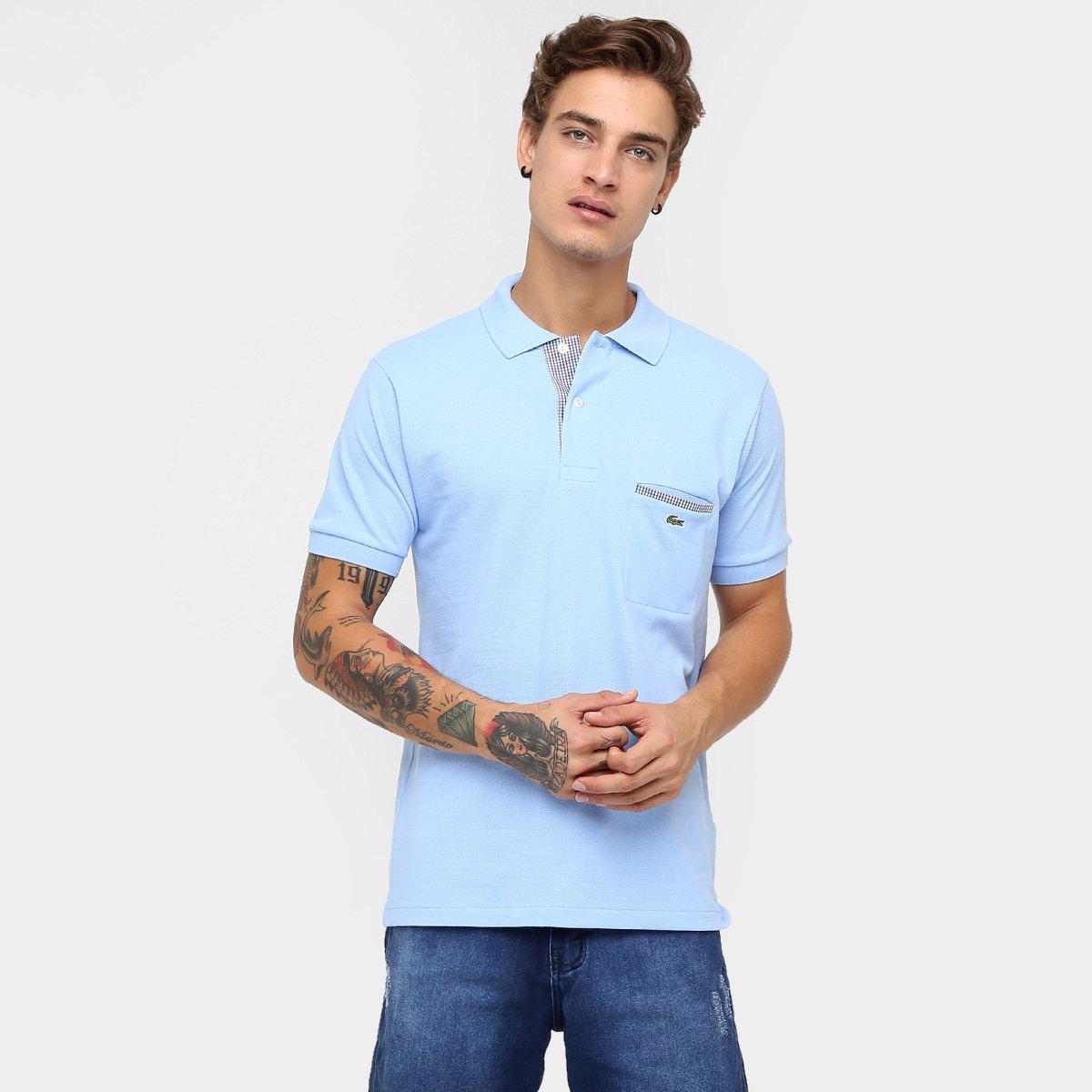 5500b7426f212 Camisa Polo Lacoste Original Fit Bolso - Azul Claro - Compre Agora ...