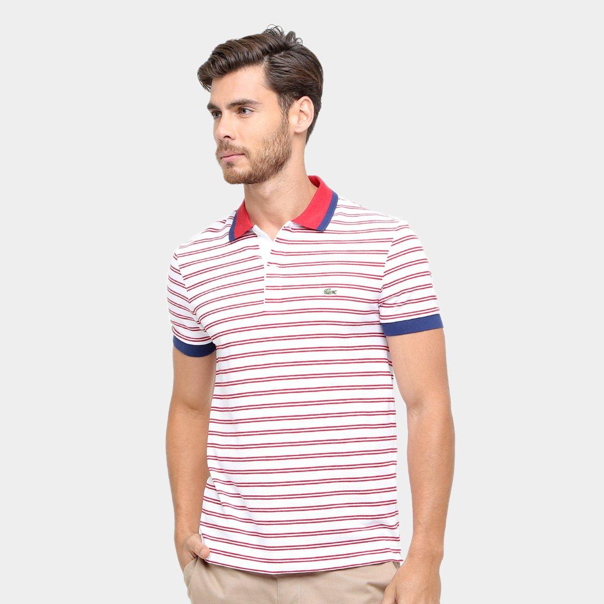 db0cdf8a2f7bd Camisa Polo Lacoste Piquet Fit Listras Color Masculina - Compre Agora
