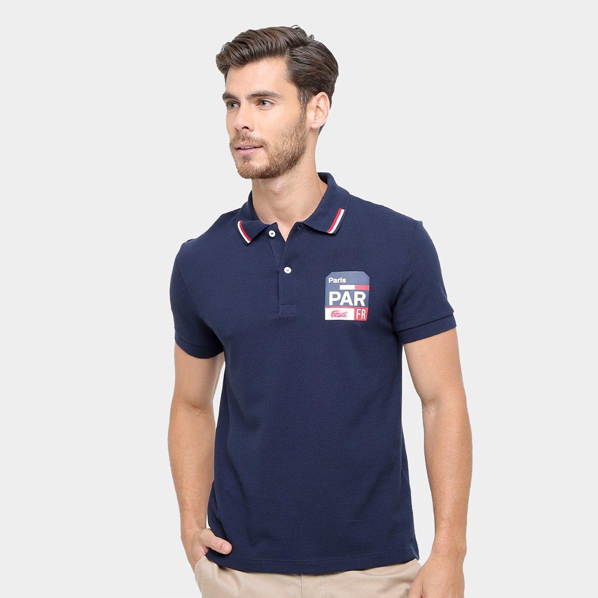 30f44fe579680 Camisa Polo Lacoste Piquet Fit Paris Masculina - Marinho - Compre Agora