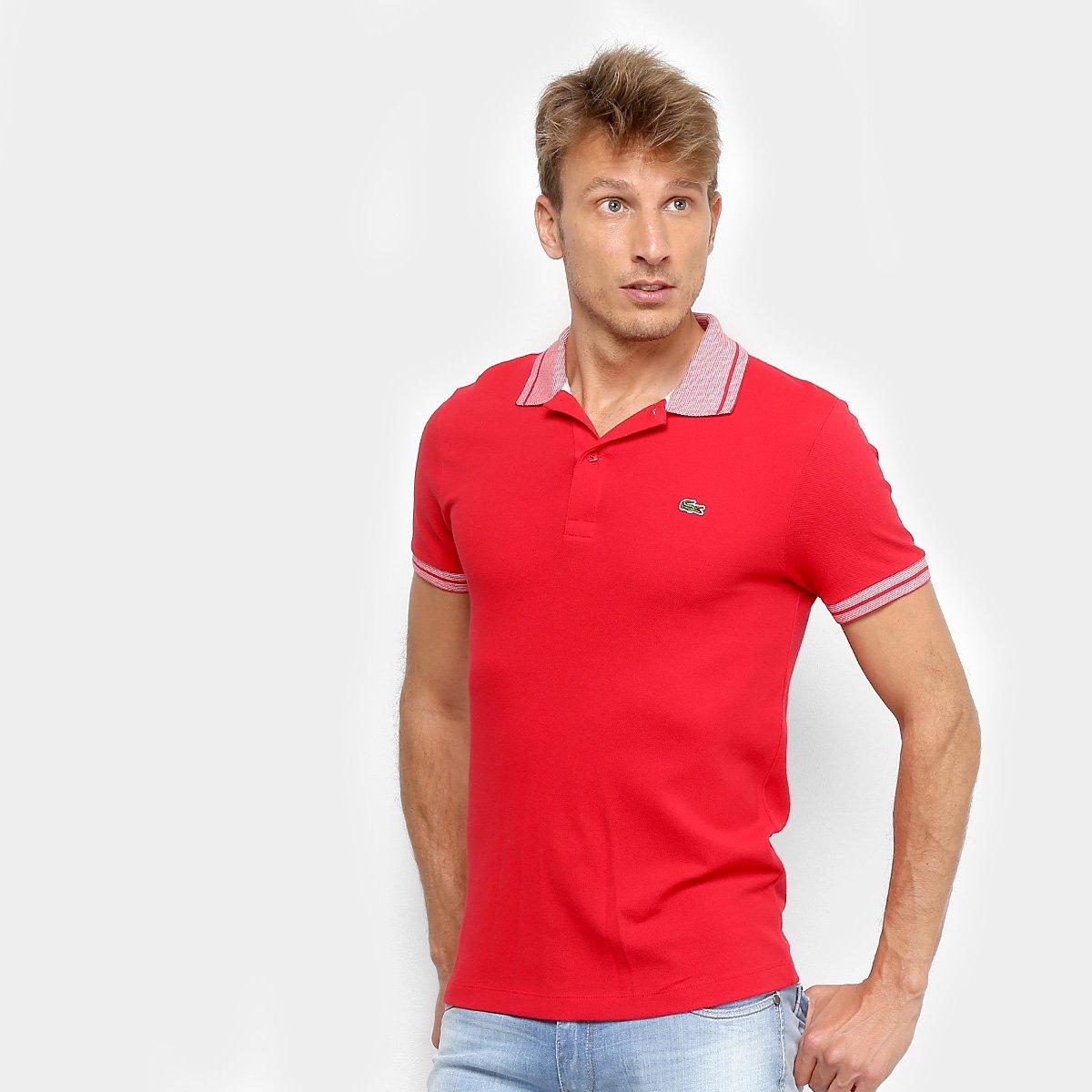 b3fa9db1a75a3 Camisa Polo Lacoste Piquet Frisos Masculina - Vermelho e Branco - Compre  Agora