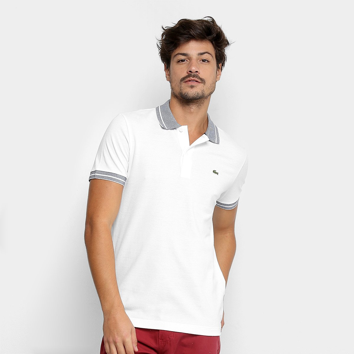 db57c7a31dbe2 Camisa Polo Lacoste Piquet Frisos Masculina - Branco e Marinho - Compre  Agora
