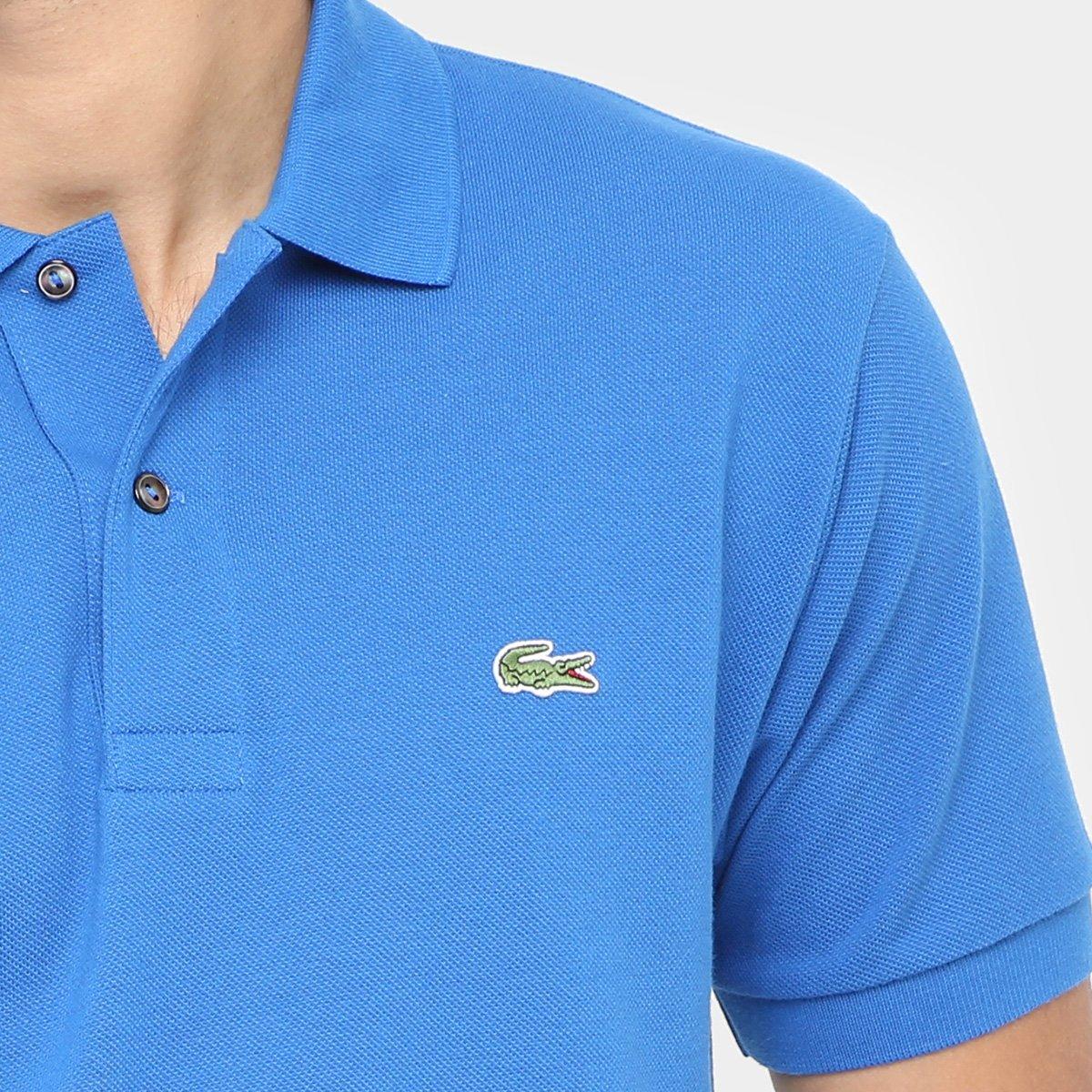 29ccda5dfa79a Camisa Polo Lacoste Piquet Original Fit Masculina - Azul Royal ...