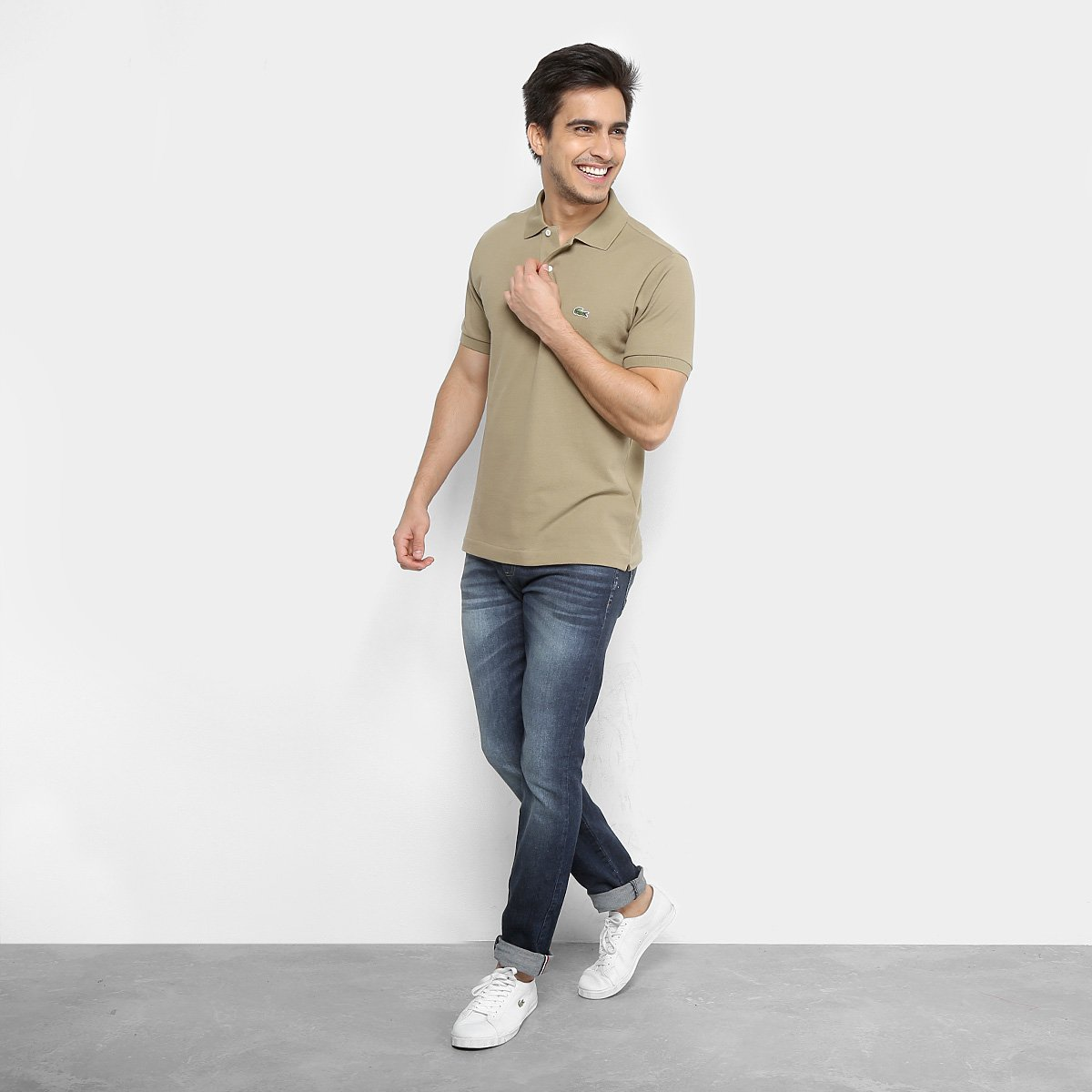 5b87a6aafb6f1 Camisa Polo Lacoste Piquet Original Fit Masculina - Verde escuro ...