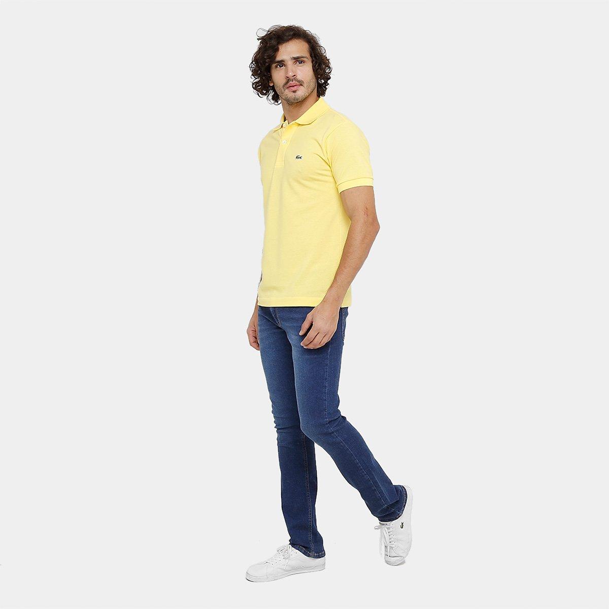 Camisa Polo Lacoste Piquet Original Fit Masculina - Amarelo Claro ... 19c9763f1e2de