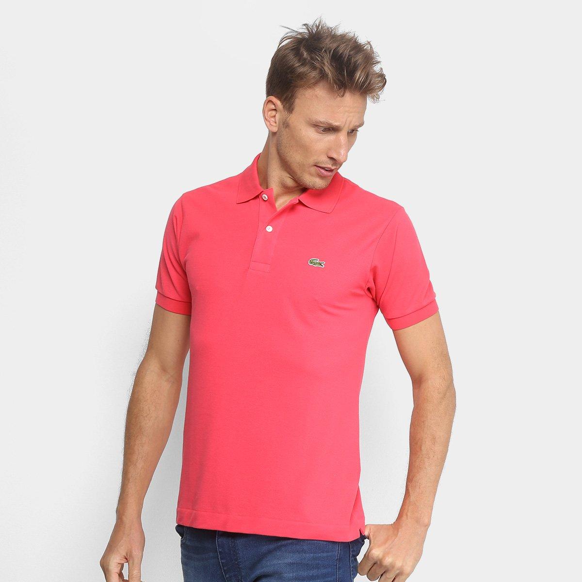 quality design 8d768 672a4 Camisa Polo Lacoste Piquet Original Masculina - Rosa