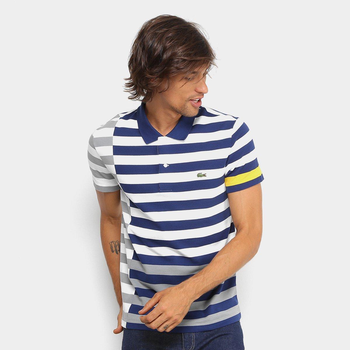 852977c9023fd Camisa Polo Lacoste Piquet Recorte Listras Striped Masculina ...