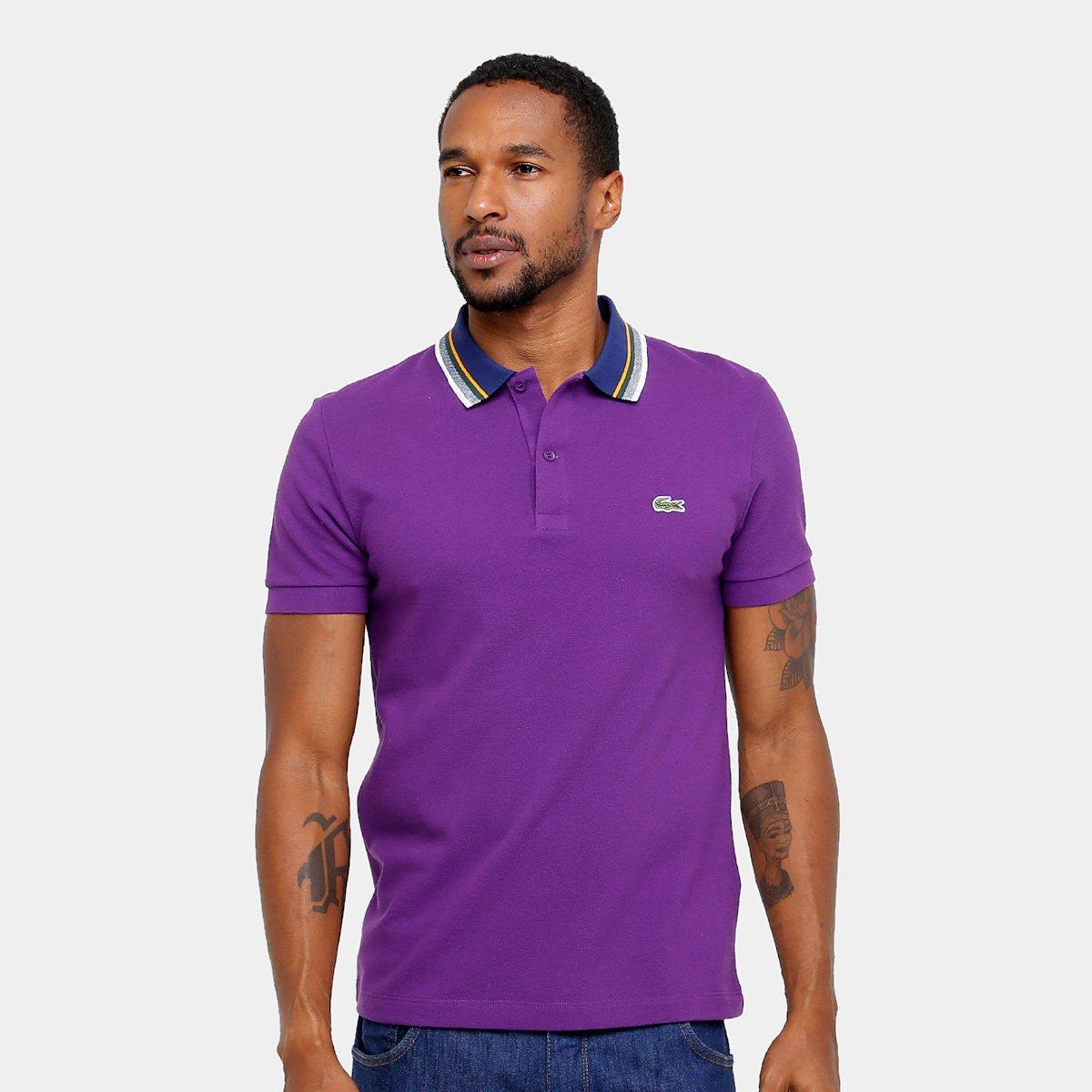 Camisa Polo Lacoste Piquet Regular Fit Gola Color Masculina Compre