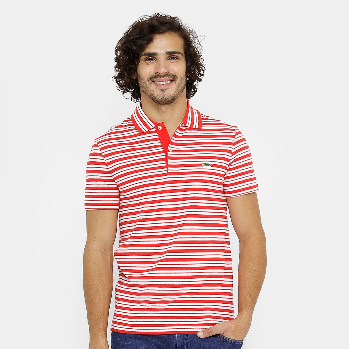 Camisa Polo Lacoste Piquet Regular Fit Listras Masculina - Compre ... 47058a8585
