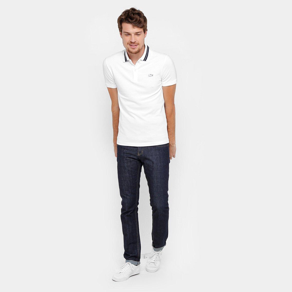 62c6cbe640 Camisa Polo Lacoste Piquet Slim Fit Rubber Croco Masculina - Compre ...