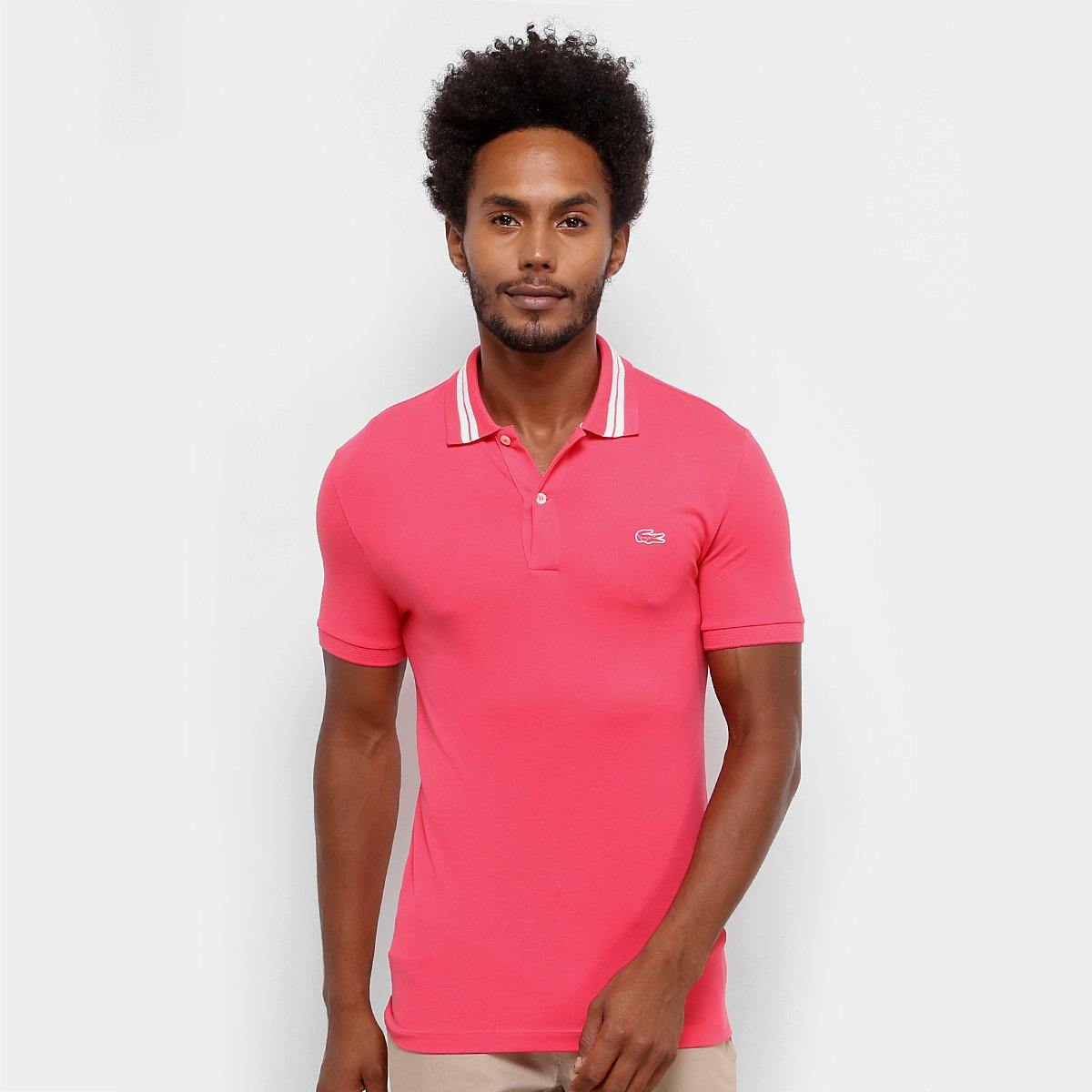 new style b419a 561a6 Camisa Polo Lacoste Piquet Slim Fit Rubber Croco Masculina - Rosa