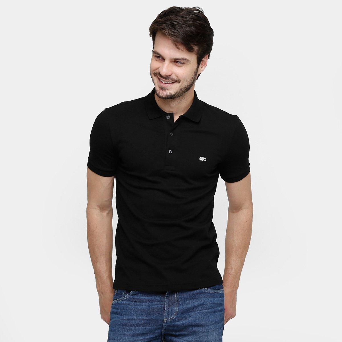 81ffc091f83c3 Camisa Polo Lacoste Piquet Slim Masculina - Preto - Compre Agora ...