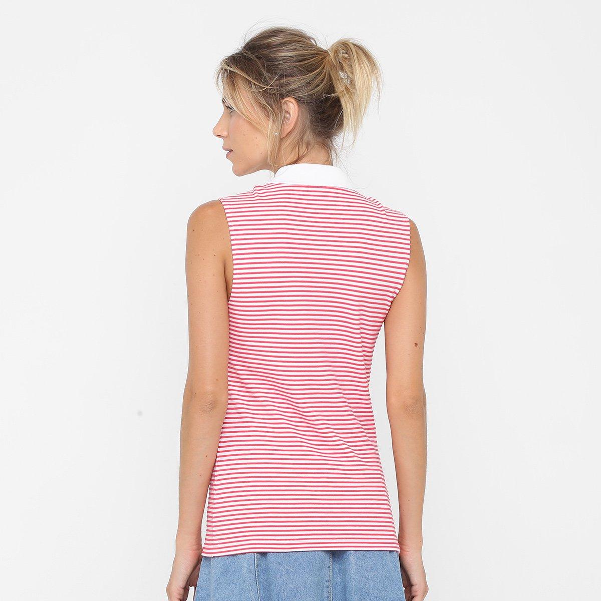 012aef7f9658c Camisa Polo Lacoste Sem Mangas Listrada Feminina - Compre Agora ...