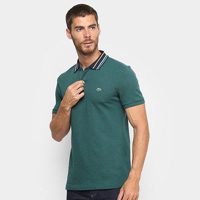 Camisa Polo Lacoste Slim Fit Gola Listrada Masculina