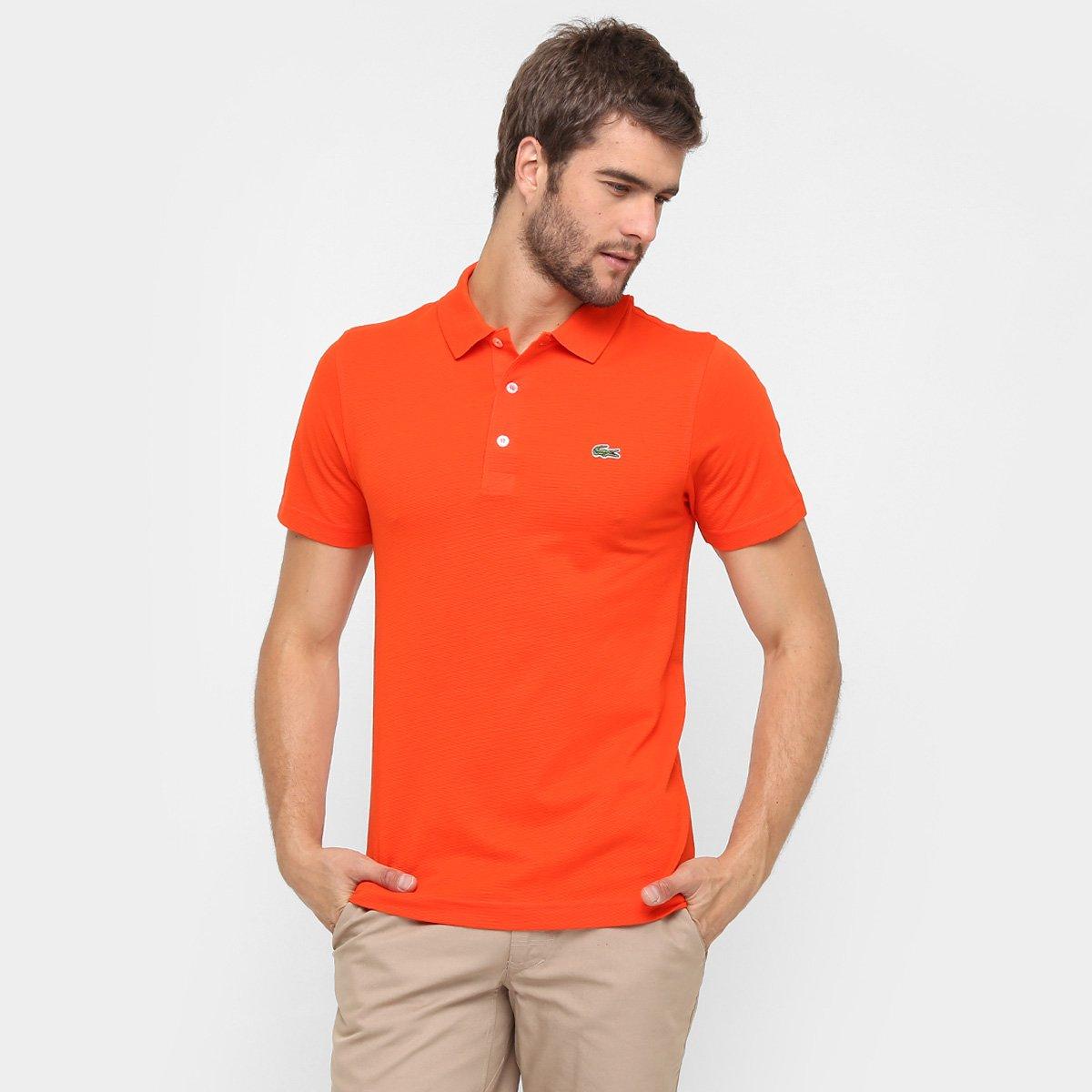 Camisa Polo Lacoste Super Light Masculina - Laranja e Verde - Compre ... 738a26a3d65f4