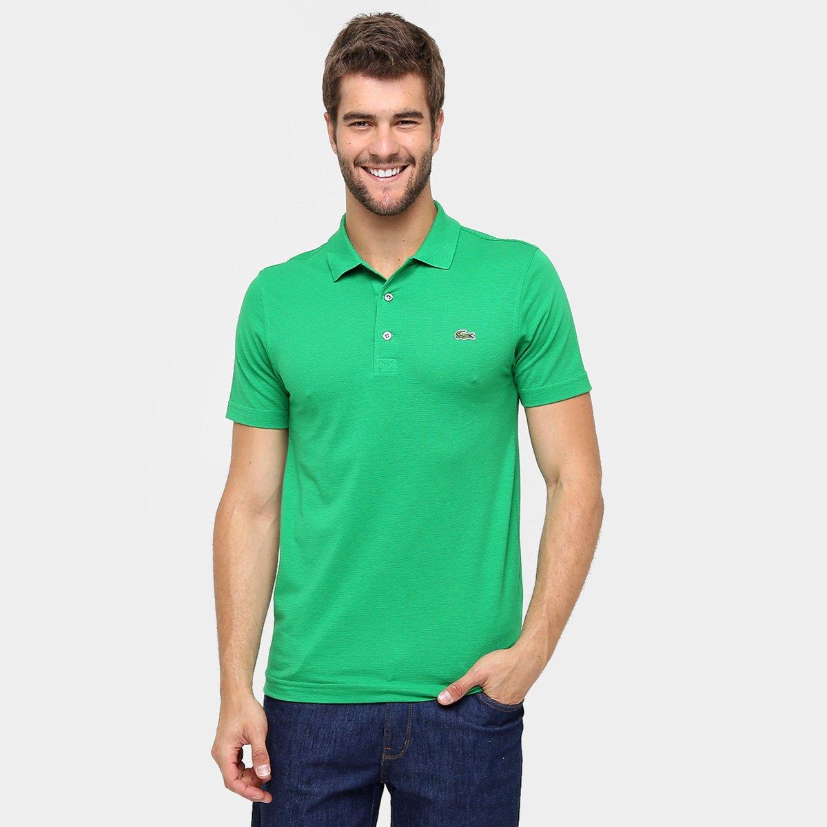 0d6ba5b8d0406 Camisa Polo Lacoste Super Light Masculina - Verde e Branco - Compre Agora