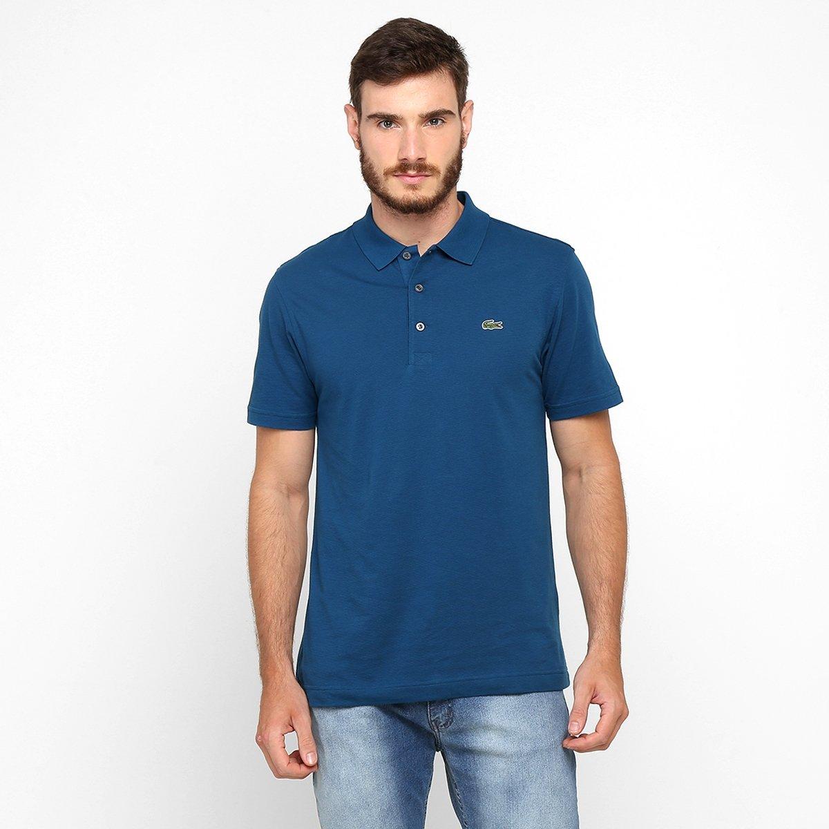3feb12a059 Camisa Polo Lacoste Super Light Masculina - Azul Petróleo - Compre ...