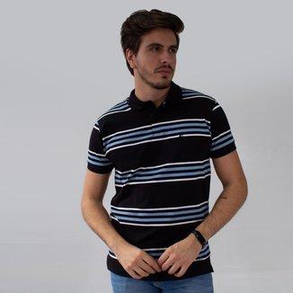 Camisa Polo Listrada Strech Preto Marinho Branco Anticorpus