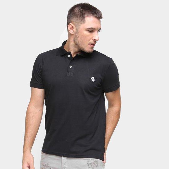 Camisa Polo Marc Ecko Masculina Algodão Abertura Lateral - Preto
