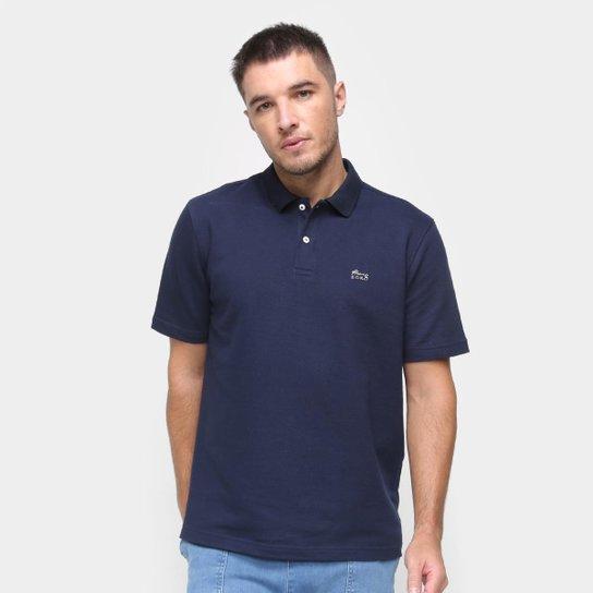 Camisa Polo Marc Ecko Masculina Botão Lisa Algodão Casual - Marinho