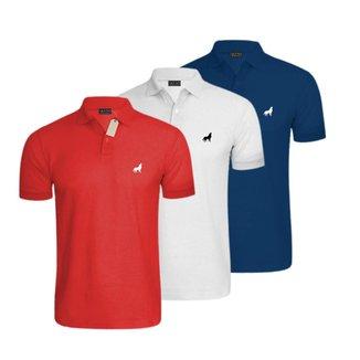 Camisa Polo Masculina em Tecido Piquet Vira Lata Wear Kit 3 Unidades
