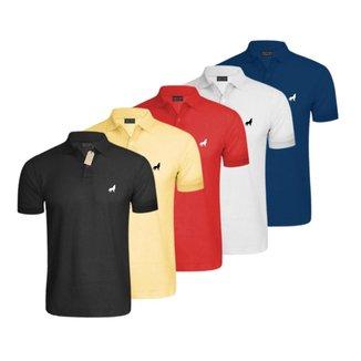Camisa Polo Masculina em Tecido Piquet Vira Lata Wear Kit 5 Unidades