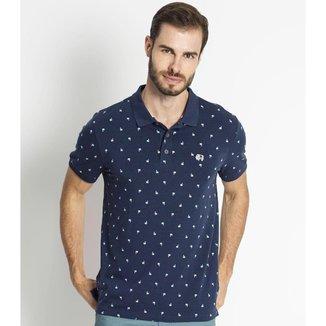 Camisa Polo Masculina Estampada Rovitex Azul P
