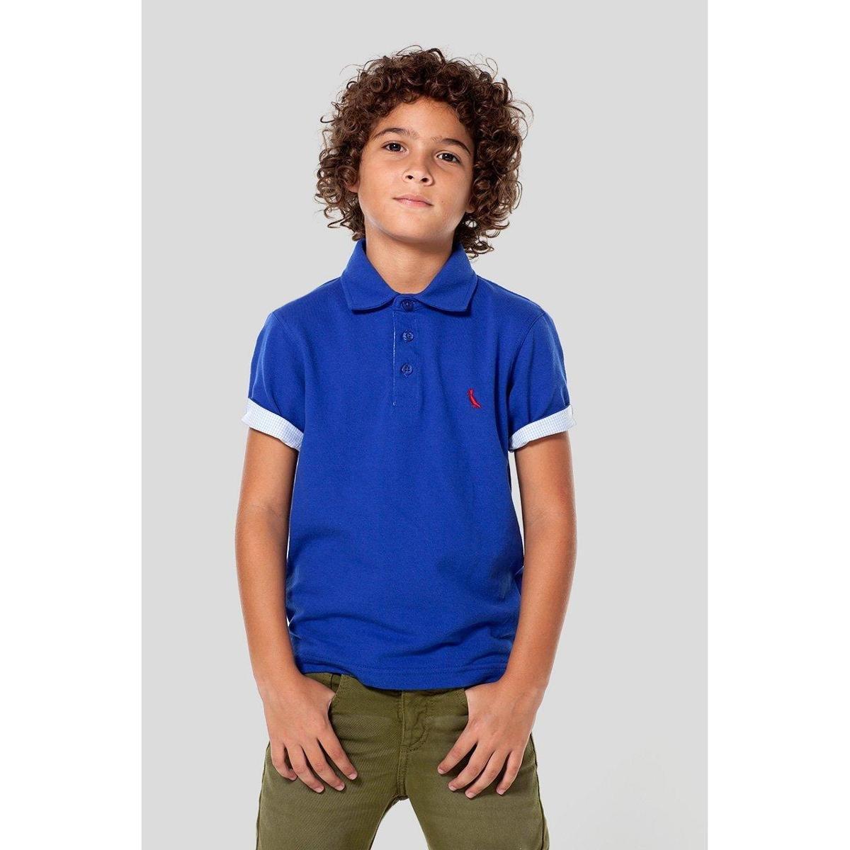c79bb3a0338b8 Camisa Polo Masculina Infantil Mini Piquet Pala Interna Listrada Reserva  Mini - Azul Claro