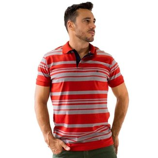 Camisa Polo Masculina Listrada Preto Açafrão Vermelho Anticorpus