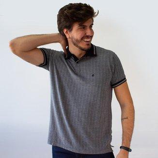 Camisa Polo Masculina Risca De Giz Várias Cores Anticorpus