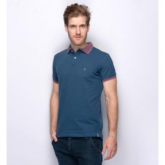 Camisa Polo Masculina Slim Teodoro Piquet Liso Detalhe Gola