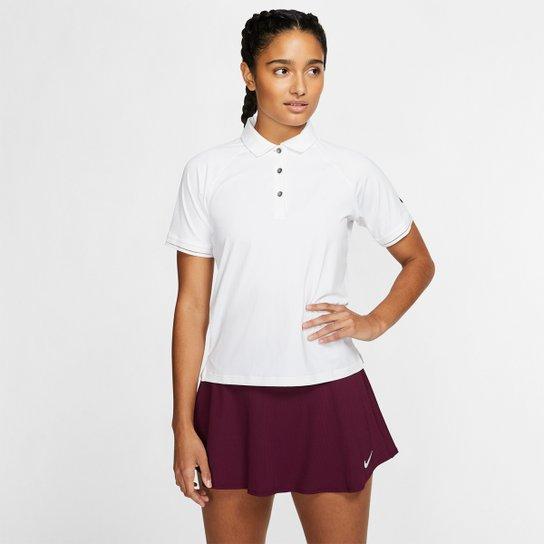 Camisa Polo Nike Court Essential Feminina - Branco+Preto