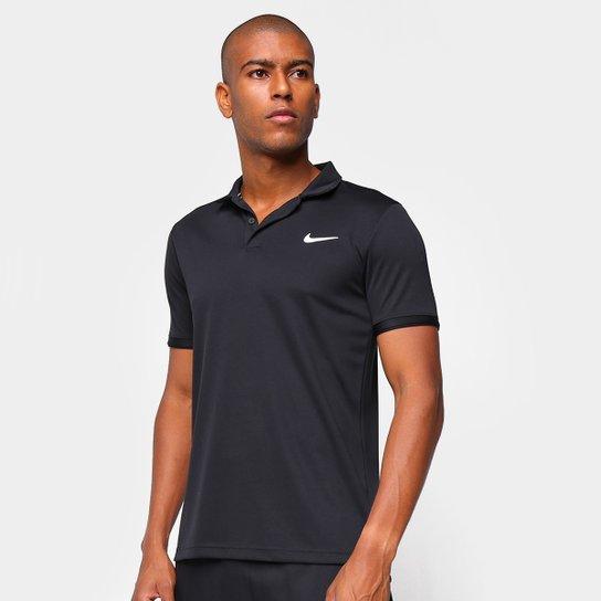 Camisa Polo Nike NKCT Dry Masculina - Preto+Branco