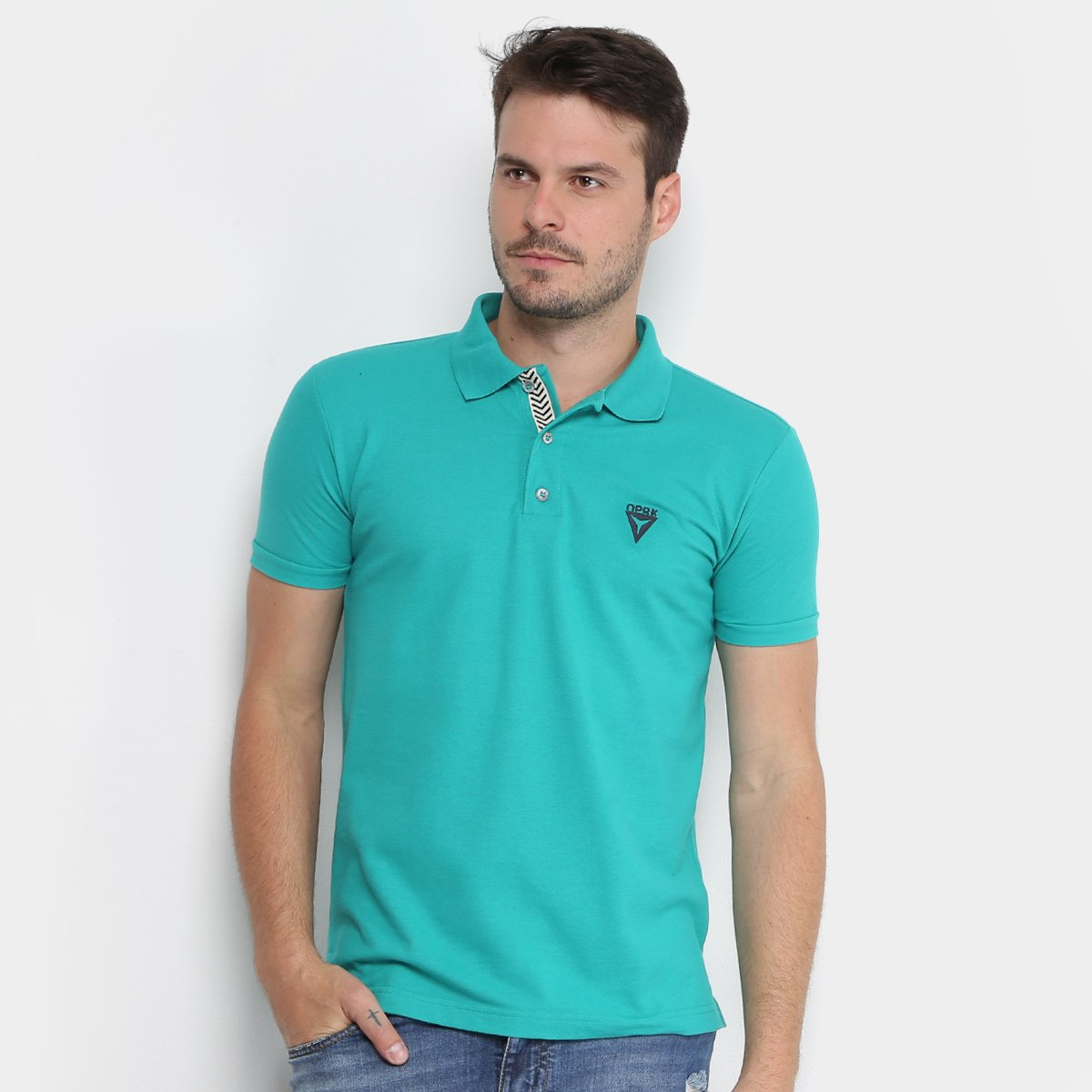 ... 7448b372e4a Camisa Polo Opera Rock Piquet Logo Bordado Masculina -  Verde . f58005def593b