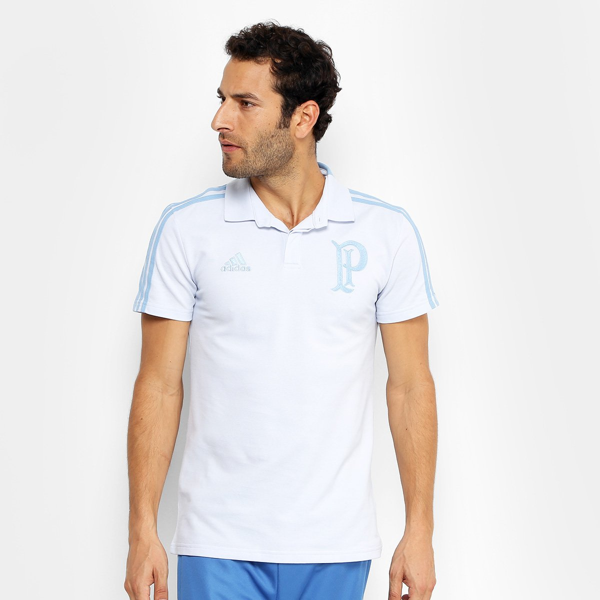 80e89dbcfb8c9 Camisa Polo Palmeiras Adidas Cotton Masculina - Azul e Marinho - Compre  Agora
