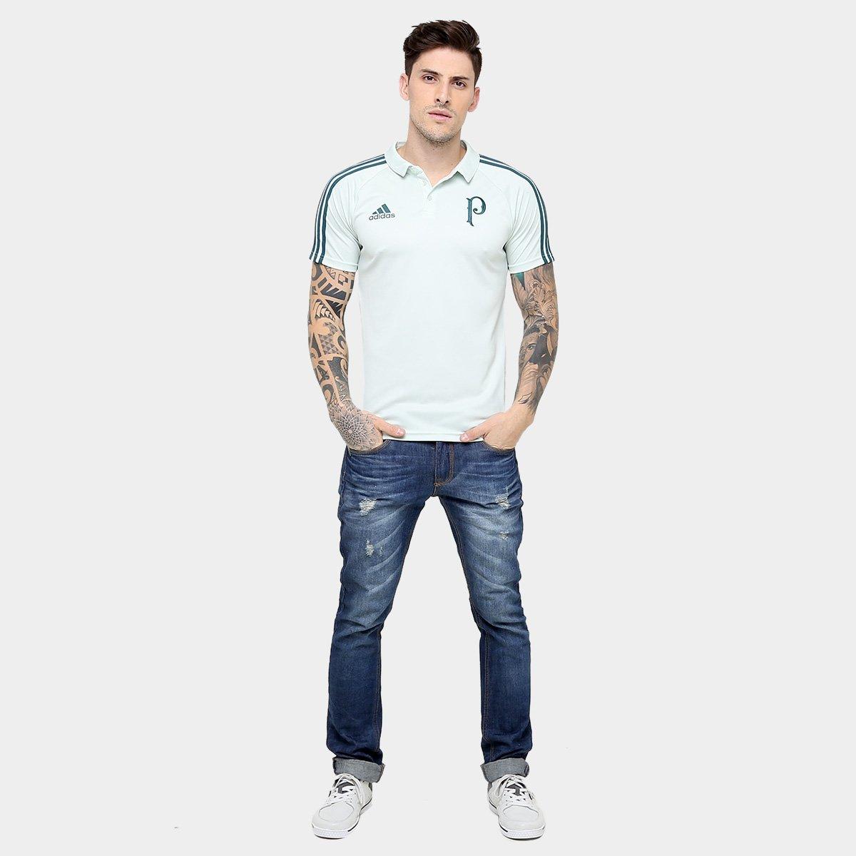 6089e47348 Camisa Polo Palmeiras Adidas Viagem 17 18 Masculino - Verde Claro e ...
