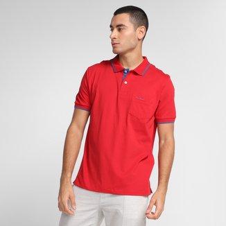 Camisa Polo Pierre Cardin Com Bolso Masculina