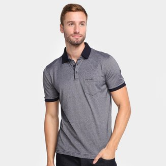 Camisa Polo Pierre Cardin Masculina Bolso Botões Casual