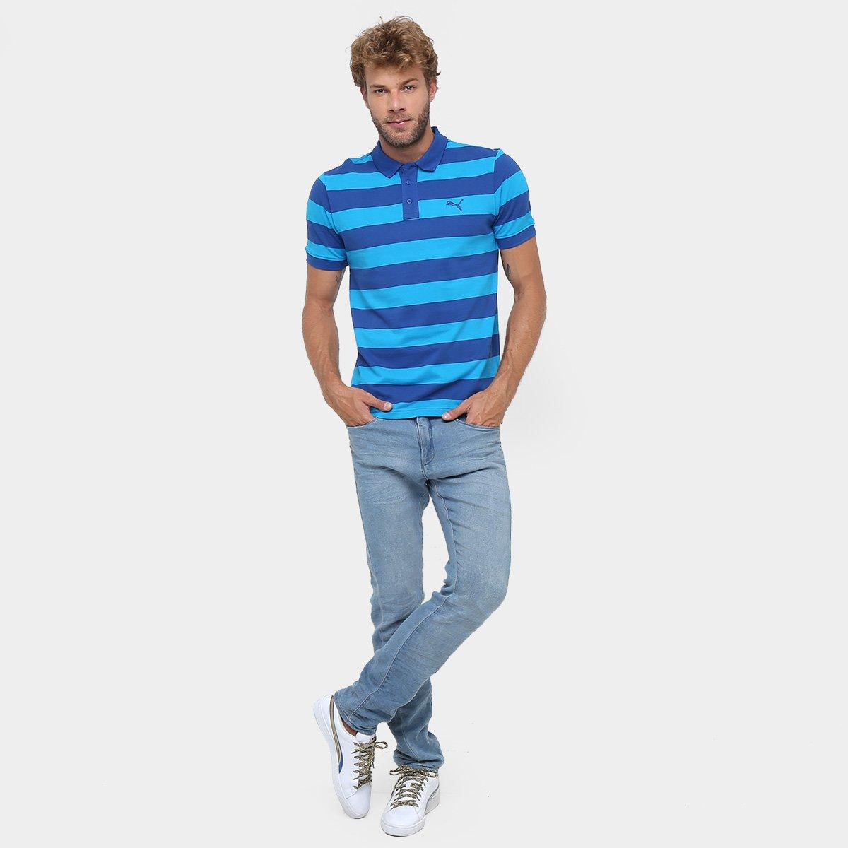 Camisa Polo Puma Ess Striped Pique Masculina - Azul - Compre Agora ... adbb77932f4b0