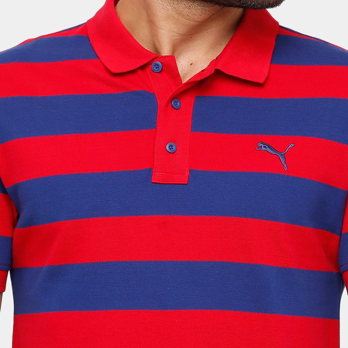 Camisa Polo Puma Ess Striped Pique Masculina - Marinho e Vermelho ... 00ccd3cf2041c
