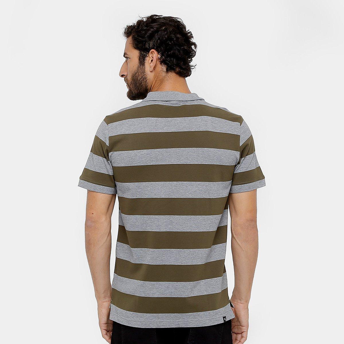 Camisa Polo Puma Ess Striped Pique Masculina - Verde escuro - Compre ... 1be13b984c16d