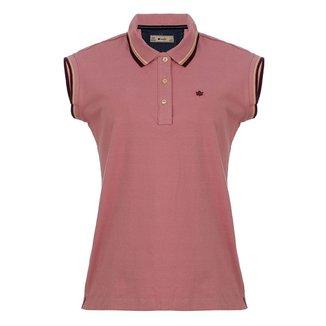 Camisa Polo Regata Seeder Feminina Piquet Rosa