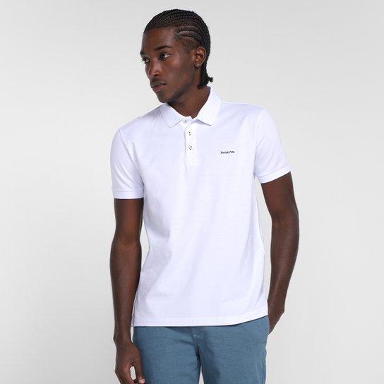 Camisa Polo Reserva Piquet Masculina - Branco