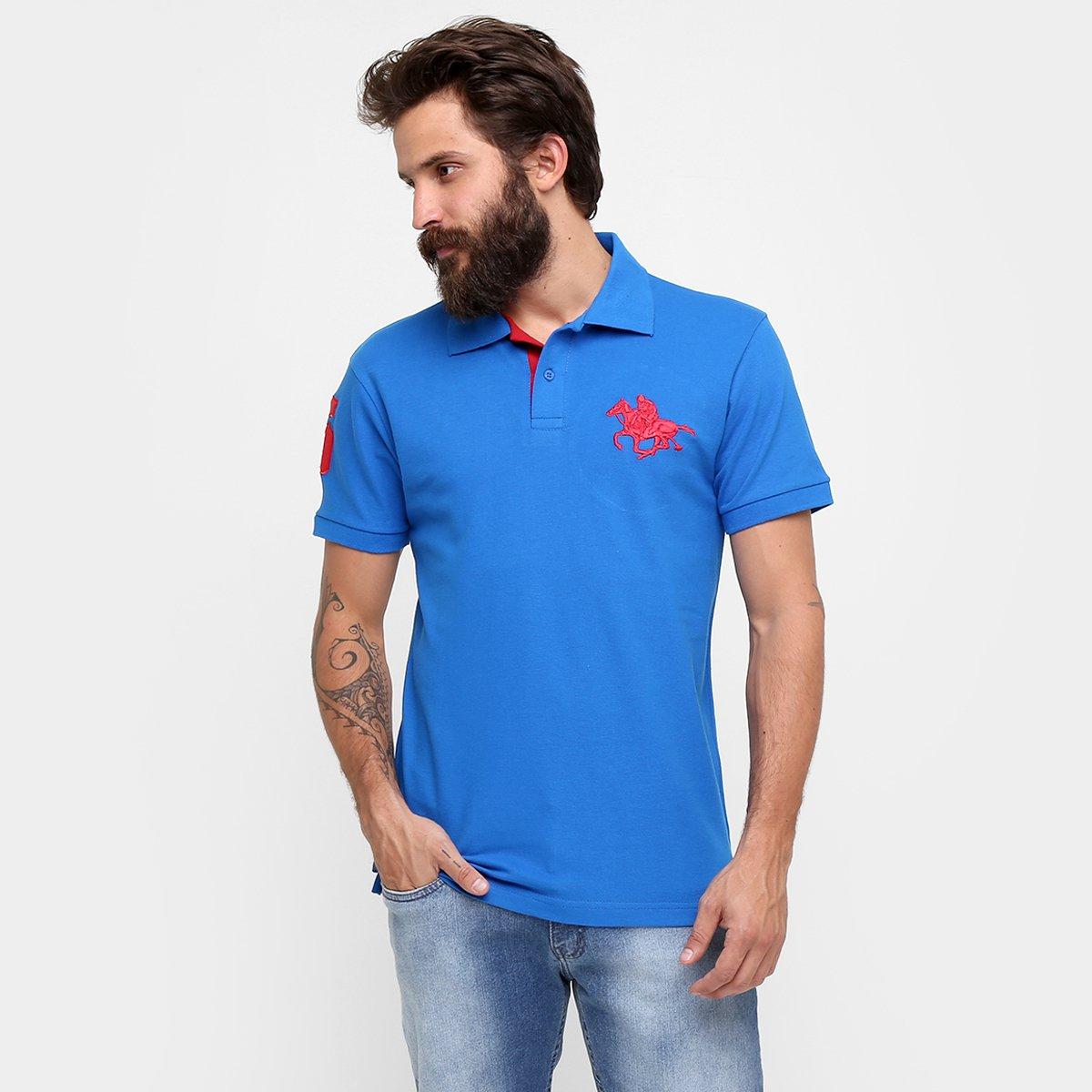 53f051391d Camisa Polo RG 518 Piquet Básica Masculina - Azul e Vermelho ...