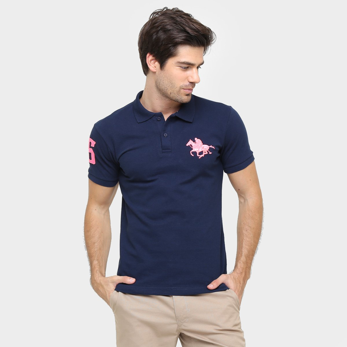 Camisa Polo Rg 518 Piquet Bordado Contraste Color 1027f2a0bed02