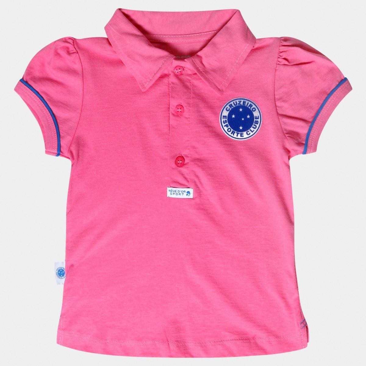 Camisa Polo Rosa Cruzeiro Infantil - Rosa e Azul - Compre Agora ... fcad566d89b6d