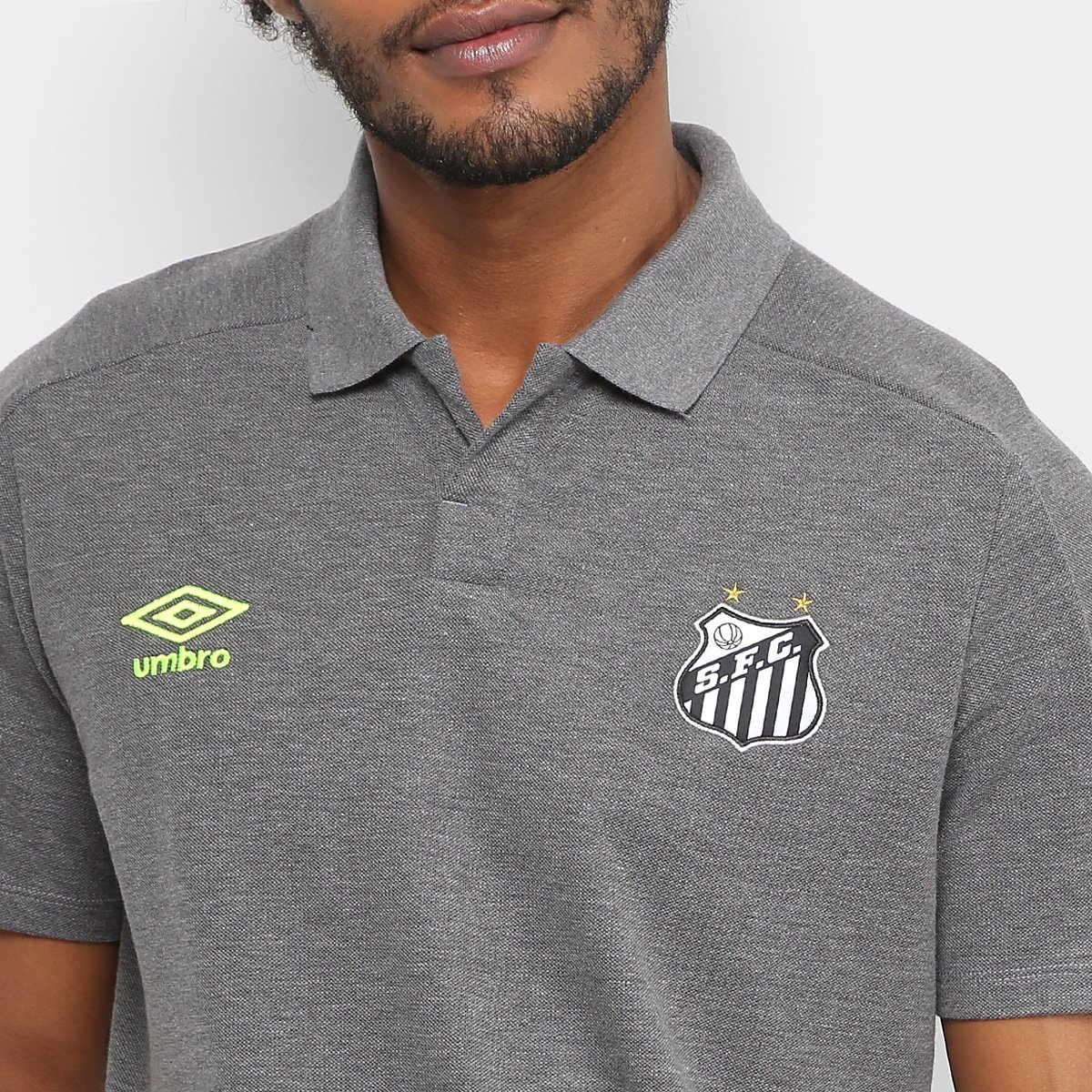 dd4bd08c2f Camisa Polo Santos 2018 Viagem Umbro Masculina - Chumbo - Compre ...