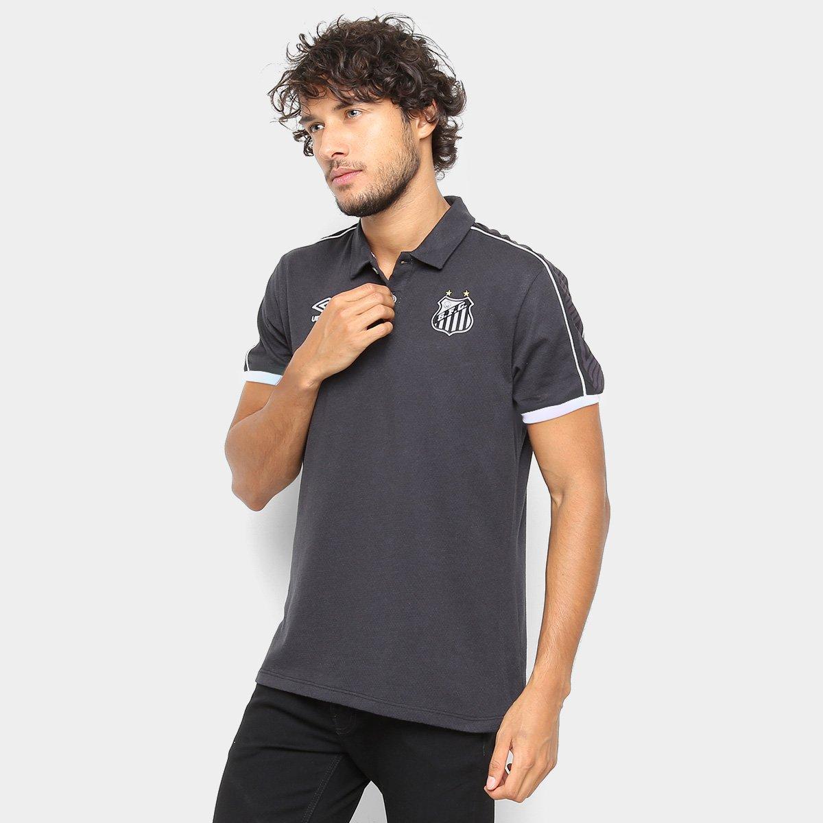 0cbc1e44d205f Camisa Polo Santos 2019 Viagem Umbro Masculina - Preto e Branco - Compre  Agora