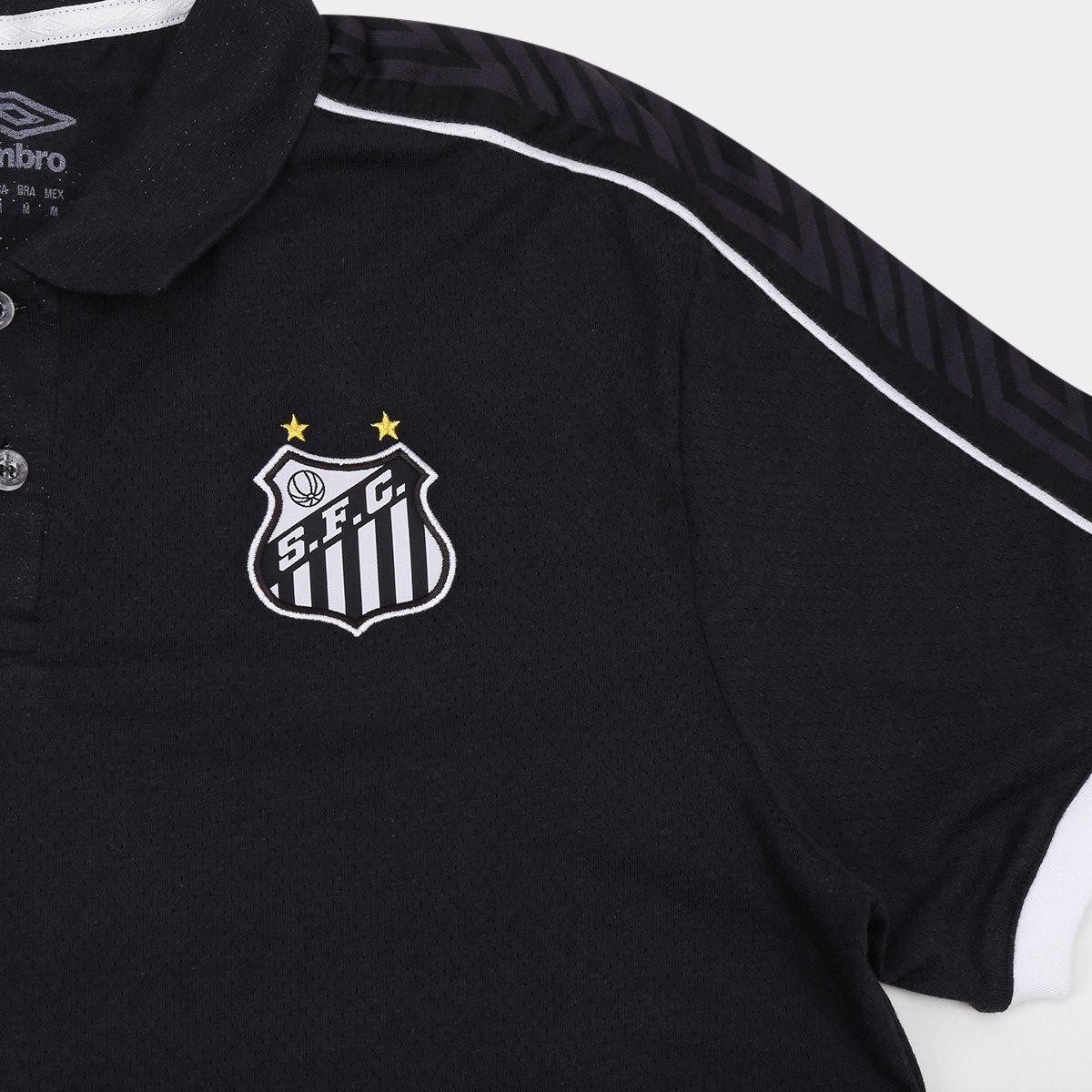 Camisa Polo Santos 2019 Viagem Umbro Masculina - Preto e Branco ... 27e7c2891d2ef