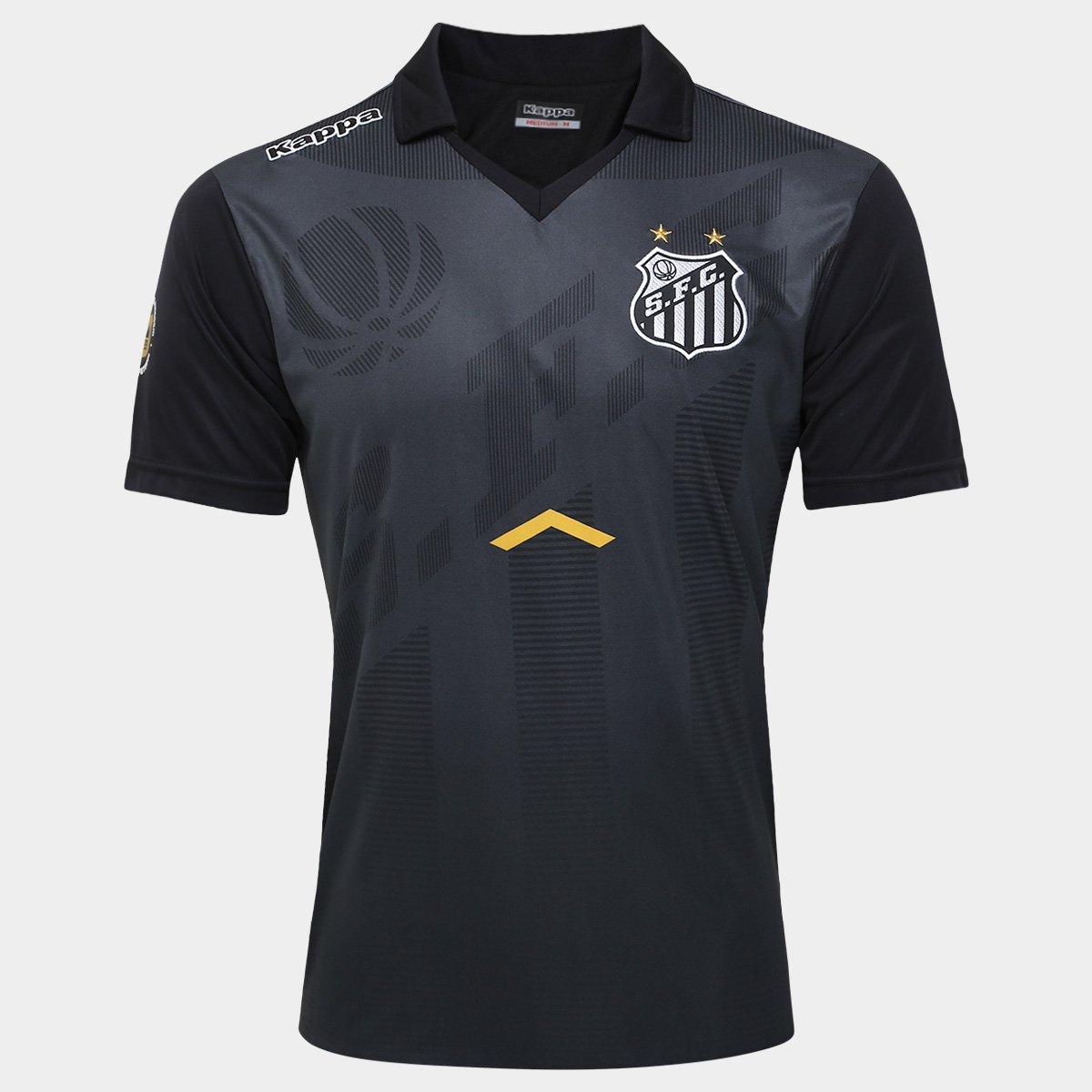 Camisa Polo Santos Comissão Técnica 17 18 Kappa Masculina - Preto e ... 11af68583b1cb