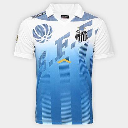 A Camisa Polo Santos Elenco 17 18 Kappa Masculina veste o torcedor com toda  a 71b6eec521da8